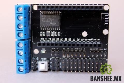 Shield de Expansion para Puertos I/O y motores con unPuente H L293DD Node MCU Wifi ESP-12e V02