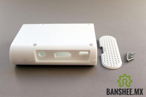 Clon de Carcasa Raspberry Pi B+ y Pi 2/3 Modelo B plastico ABS Blanco con disipadores de calor